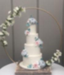 Wedding cake stand at a wedding at Trevenna Barns, Cornwall.
