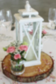 White metal lanterns hired for a wedding at Deer Park Country House.