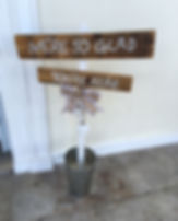 'We're so glad you're here' sign hired for a wedding at Rockbeare Manor, Devon.