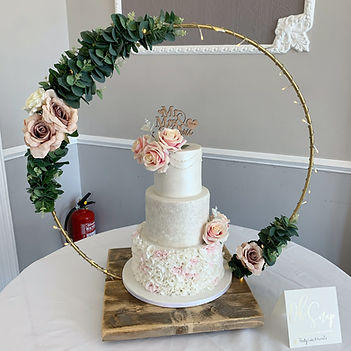 Wedding cake stand at a wedding at The Elfordleigh.