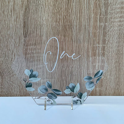Eucalyptus table numbers available for hire for weddings in Devon and Torbay.