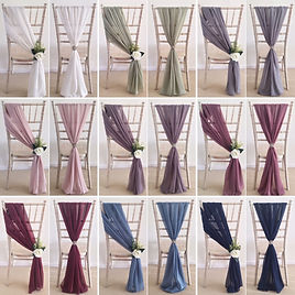 Chiffon chair drapes available for hire for weddings in Devon.