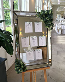 Mirror table plan hired for a wedding at Deer Park Country House.
