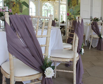 Chiffon chair drape chair decor hire for weddings in Devon and Torbay.
