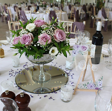 Mirror plates available for hire for weddings in Devon and Torbay.