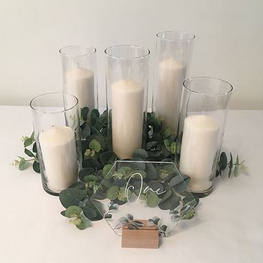 Eucalyptus table centrepiece available for hire for weddings in Devon & Torbay.