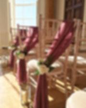 Wedding ceremony decor at Rockbeare Manor.