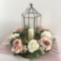 Brass lantern table centrepieces available for hire for weddings in Devon and Torbay.