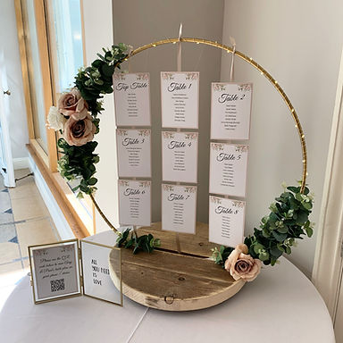 Hoop table plan available for hire for weddings in Devon and Torbay. Pictured at Rockbeare Manor.