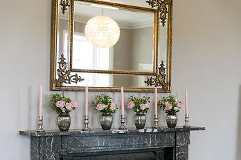 Silver mercury candlesticks hired for a wedding at Rockbeare Manor, Devon.