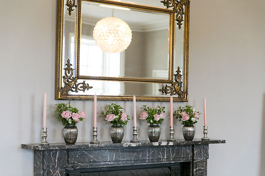 Silver mercury jars hired for a wedding at Rockbeare Manor, Devon.