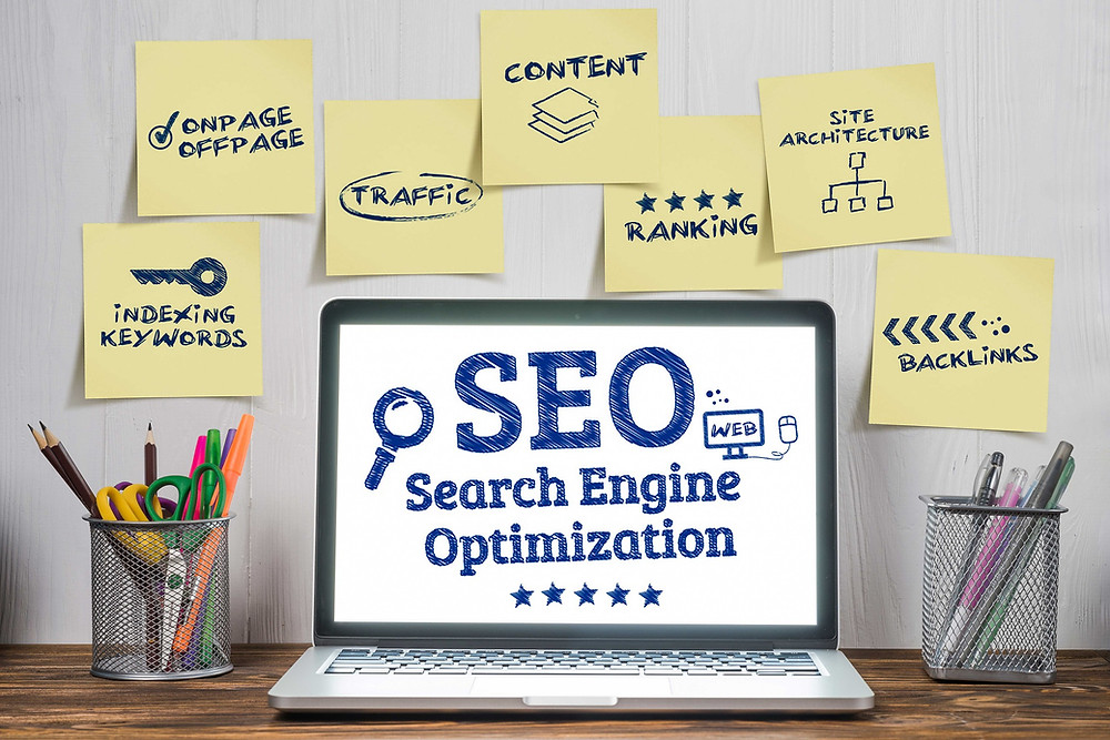 seo concepts including keywords, on-page, off-page, content, ranking, and backlinks.