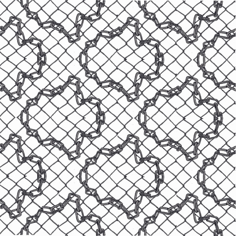 Chain pattern digital design for printing on hankerchiefs. 2020.
