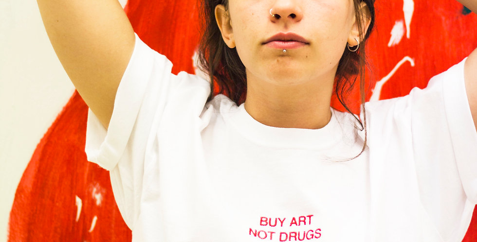 BUY ART NOT DRUGS - White Embroidered T-Shirt