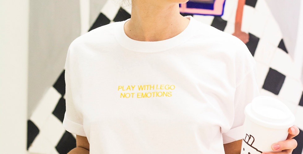 PLAY WITH LEGO NOT EMOTIONS - White Embroidered T-Shirt