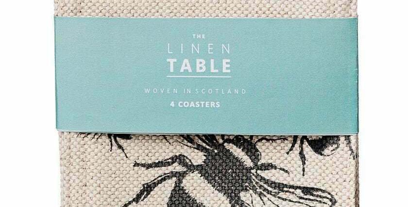4 Bee Linen Coasters
