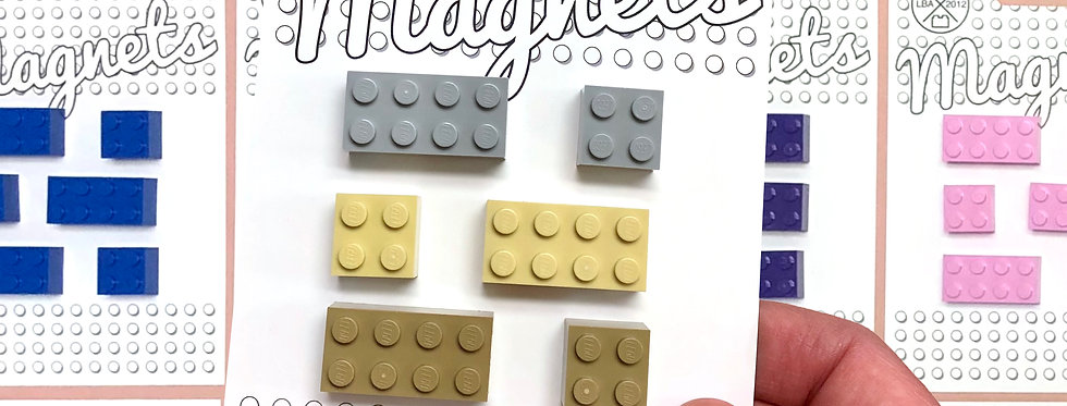 6x Colourful Brick Magnets