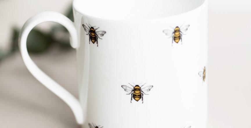 Fine China Dotted Bee Mug