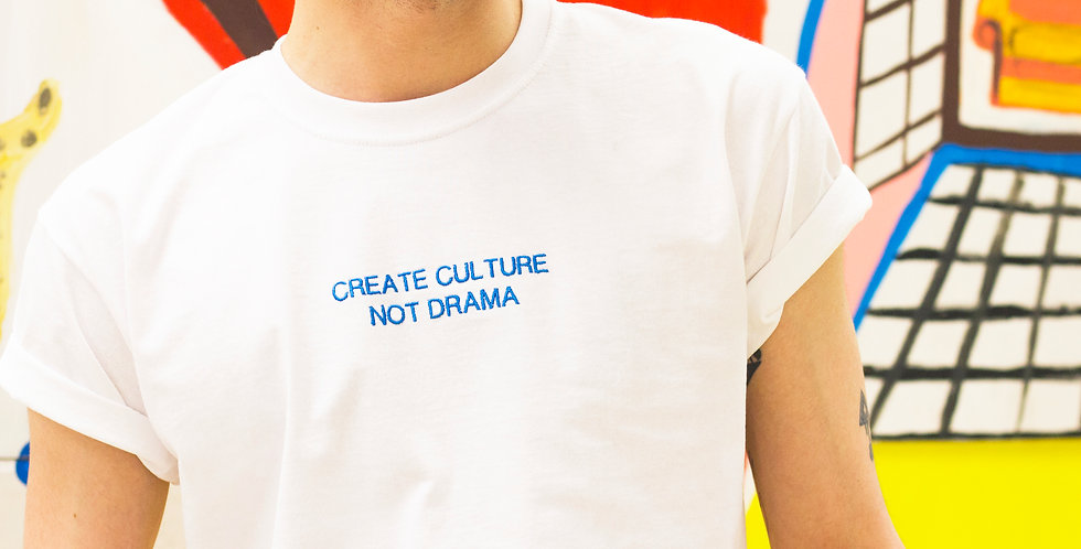 CREATURE CULTURE NOT DRAMA - White Embroidered T-Shirt