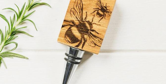 Bee Oak Bottle Stopper