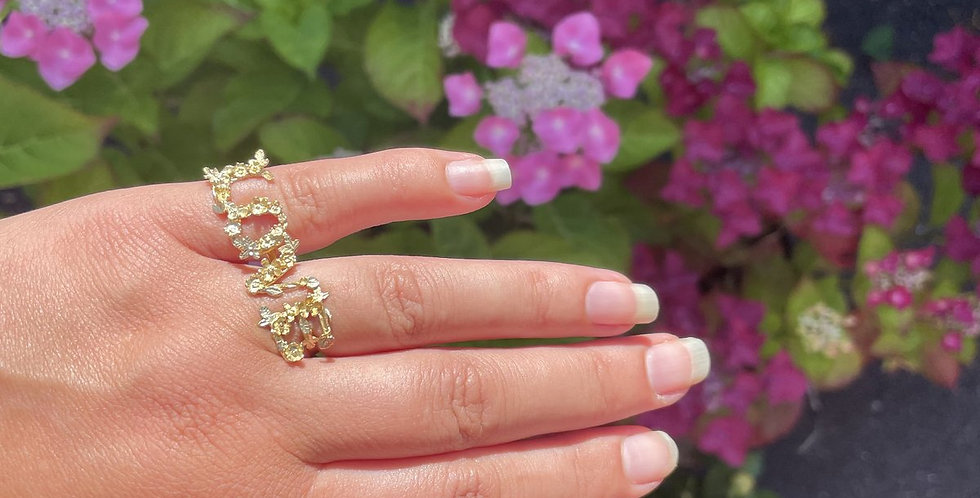 """Alex Monroe """"LOVE"""" Two Knuckle Ring"""