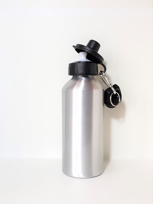 Silver Water Bottle Single Front Image