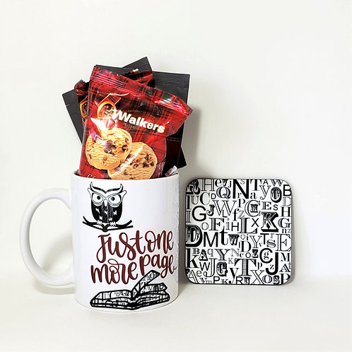 One More Page Mug & Coaster Set Filled With Treats