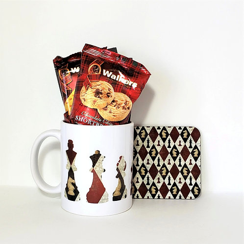 Chess Mug & Coaster Set Filled With Treats