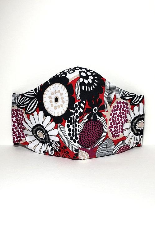 Floral Pattern Mask.  Includes Polypropylene Insert.