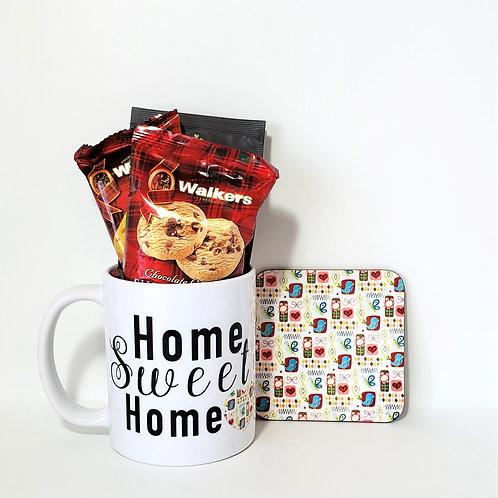 Home Sweet Home Mug & Coaster Set Filled With Treats