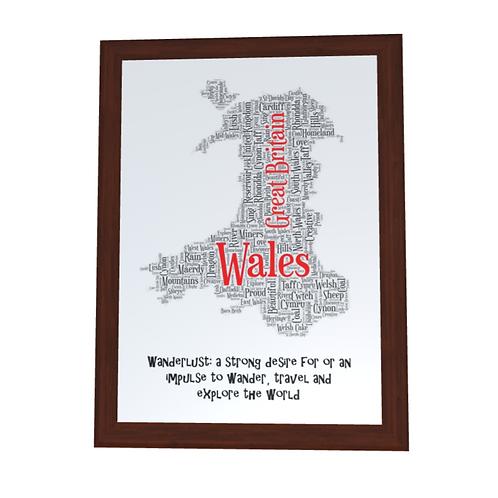 'Wales, UK' Typographical Print