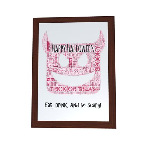 'Halloween Devil' Typographical Print