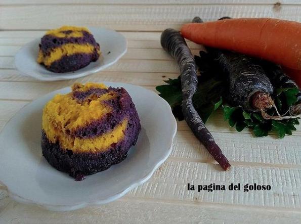 Sformato di carote viola e arancioni