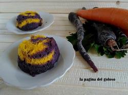 Flan of purple and orange carrots