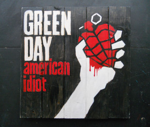 Green Day  painted on wood