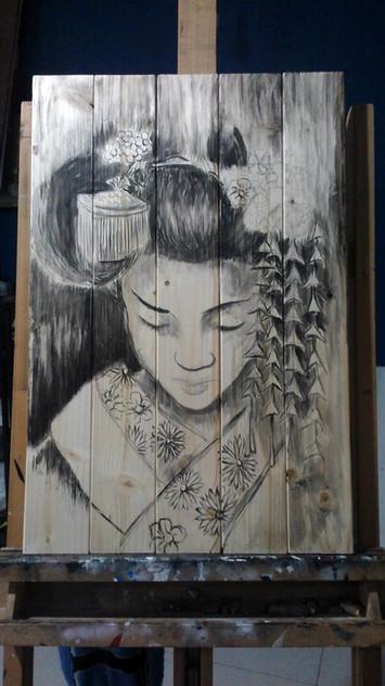Geisha_Acrilico su legno_cm 40x60