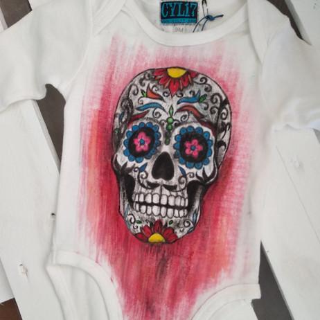 Teschio messicano body dipinto a mano bi