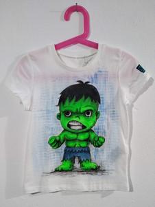 Mini Hulk t-shirt dipinta a mano bianca