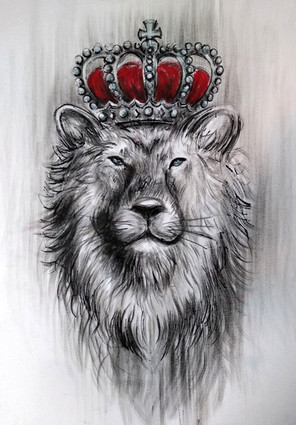 The king_Lion_Handpainted_T Shirt