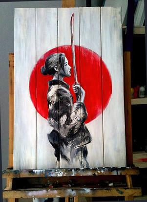 Geisha samurai Acrilico su legno.jpg