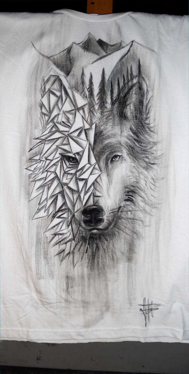 Wolf_Handpainted T Shirt