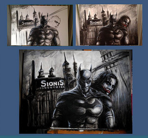 Batman e Joker Acrilico su tela cm 35x70