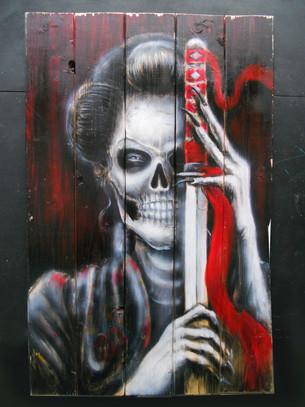 Skull Samurai painted on wood.JPG