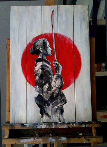 Geisha samurai Acrilico su legno