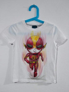 Mini Flash t-shirt dipinta a mano bianca