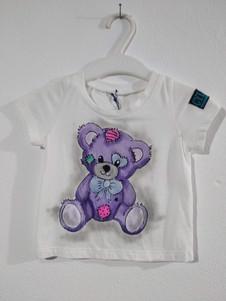 Orsetto t-shirt dipinta a mano bianca (1
