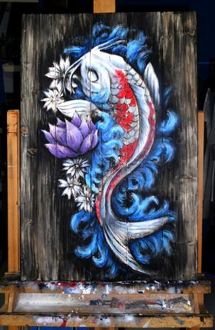 Carpa Koi_Acrilico su legno_A