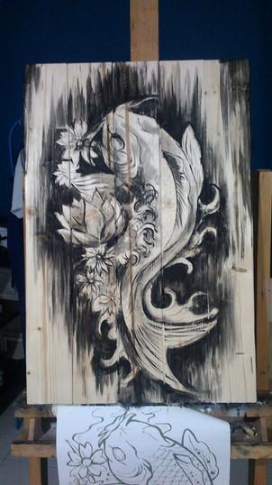Carpa Koi_Acrilico su legno_Progress