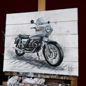 Moto Guzzi, dipinto su legno cm 50x60