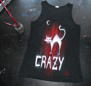 Crazy_Cat_Handpainted T Shirt